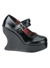 BRAVO-08 Black PU Wedge - Clearance