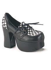 CHARADE-12 Checkered Platform Heels