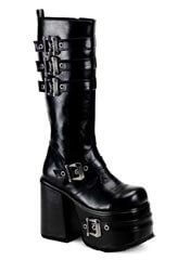 CHOPPER-101 Black Buckle Boots
