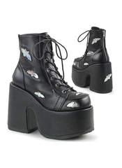 Camel-201 Black Platform Boots with Silver Bats