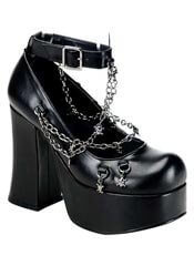 CHARADE-28 Strap Chain Heels