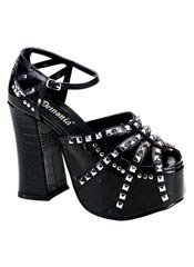CHARADE-31 Black Pyramid Sandals