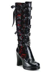 CRYPTO-106 black and red lace boots