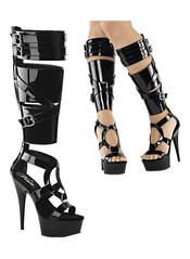 DELIGHT-600-43 Black Patent Stilettos