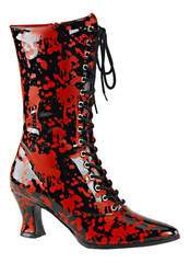 VICTORIAN-120BL Red Black Boots