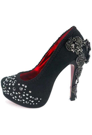 AMINA Black  Crystal Stilettos