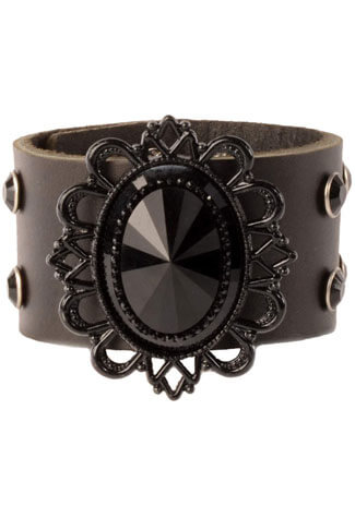 Black Filigree Leather Wristband