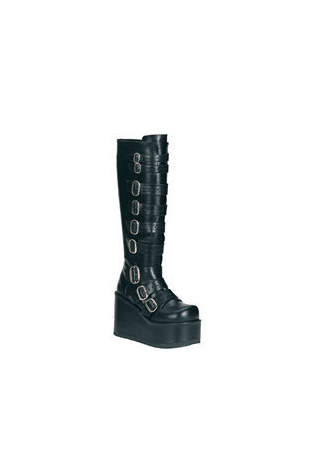 CONCORD-108 Black Buckled Boots