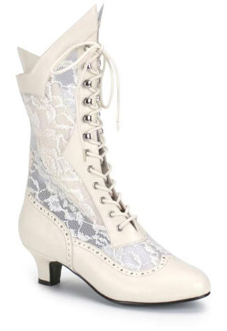DAME-115 Ivory Lace Boots
