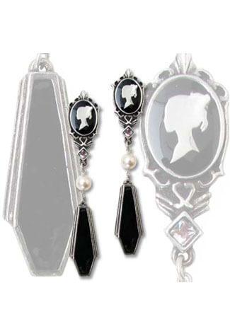 Coffin Drop Cameo Dangle Earrings - Clearance