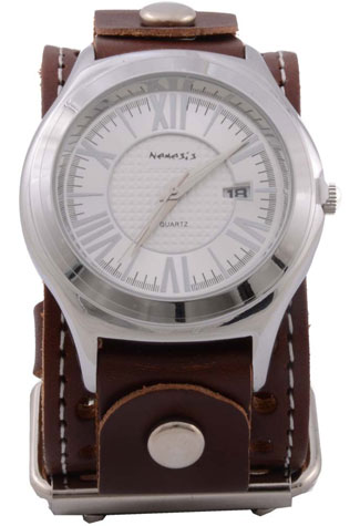 Brown Roman Leather Watch