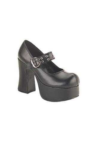 CHARADE-05 Black Platform Heels