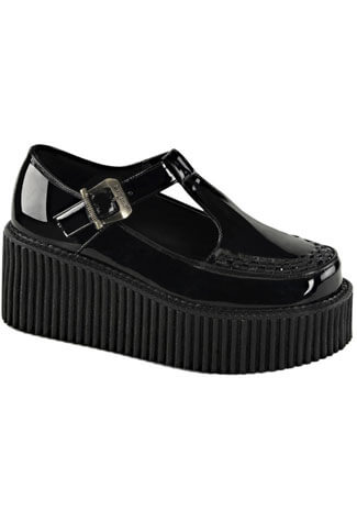 CREEPER-214 Black Patent Creepers