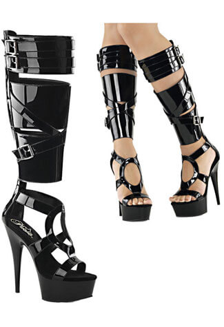 DELIGHT-600-43 Black Patent Stilettos