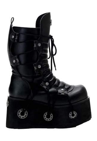 FURIOUS-201 Black Platform Boots