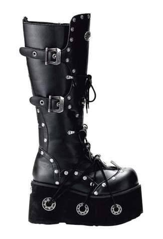 FURIOUS-301 Black Platform Boots