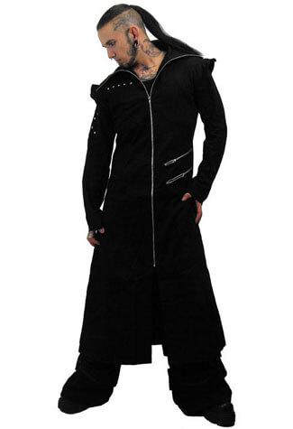 Odin Full Length Black Twill  Hooded Coat
