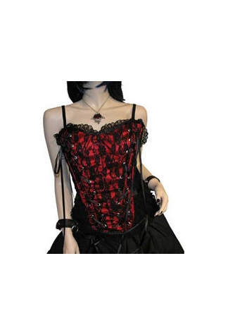 Tabatha Gothic Corset Satin Panel Red