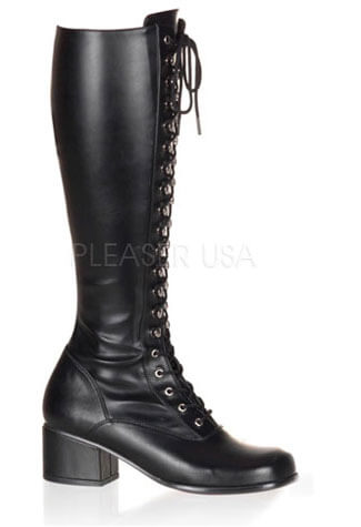 RETRO-302 Black PU Boots