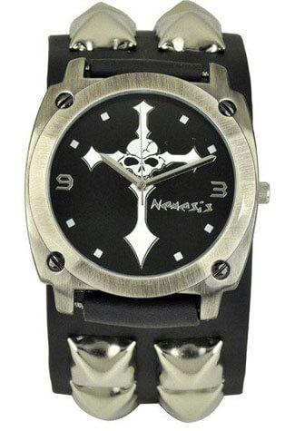 Studded Skull Cross Watch