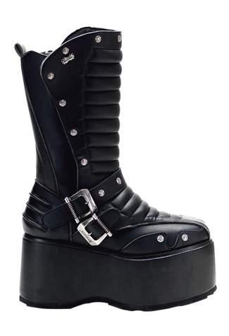 WICKED-701 Black Platform Boots